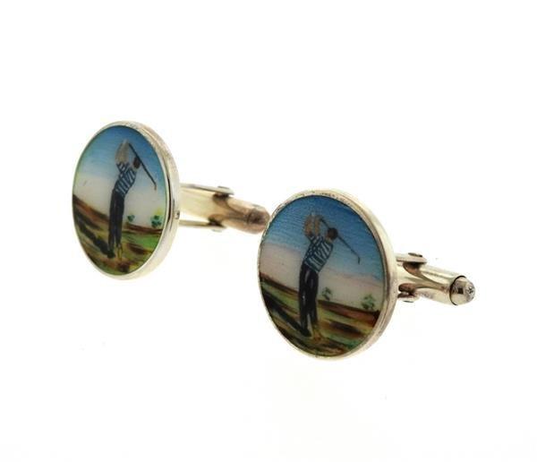 Tiffany & Co. Sterling Golfer Enamel Gold Cufflinks - 2