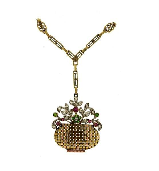 1930s Retro 14k Gold Diamond Gemstone Basket Pendant