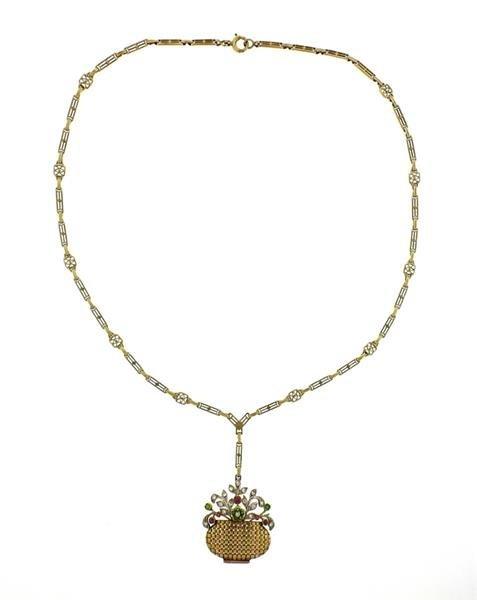 1930s Retro 14k Gold Diamond Gemstone Basket Pendant - 2