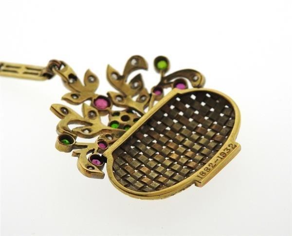 1930s Retro 14k Gold Diamond Gemstone Basket Pendant - 3