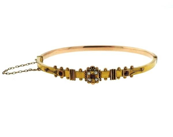 Antique English Victorian Gold Pearl Bangle Bracelet