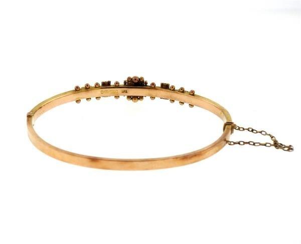 Antique English Victorian Gold Pearl Bangle Bracelet - 2