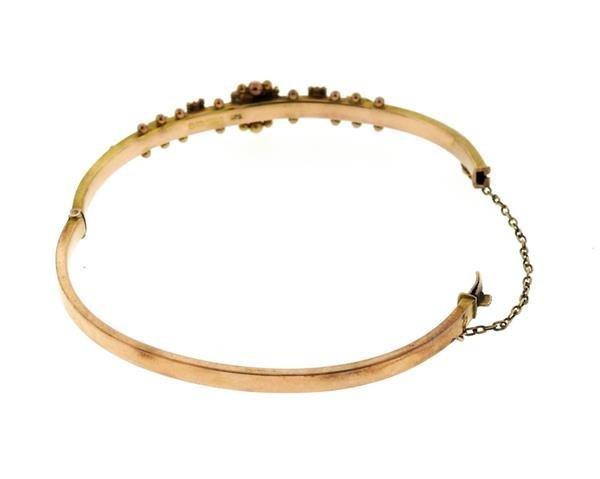 Antique English Victorian Gold Pearl Bangle Bracelet - 4