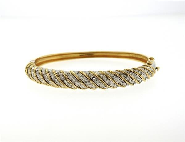 1970s 18K Gold Platinum Diamond Bangle Bracelet