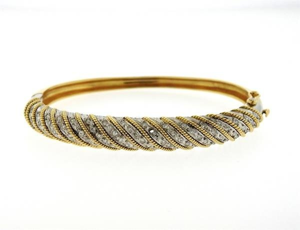 1970s 18K Gold Platinum Diamond Bangle Bracelet - 2