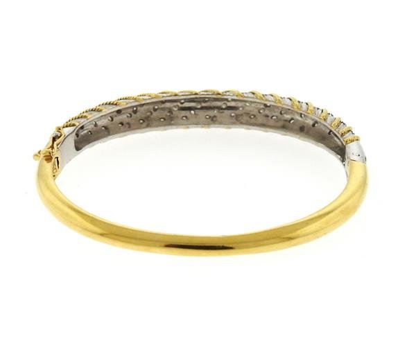 1970s 18K Gold Platinum Diamond Bangle Bracelet - 3