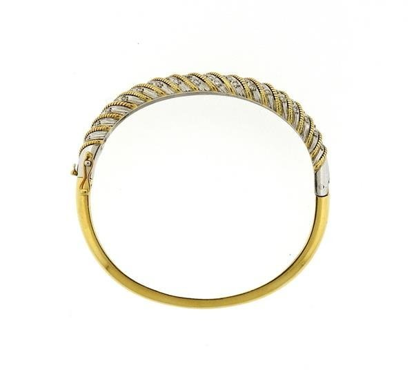 1970s 18K Gold Platinum Diamond Bangle Bracelet - 4