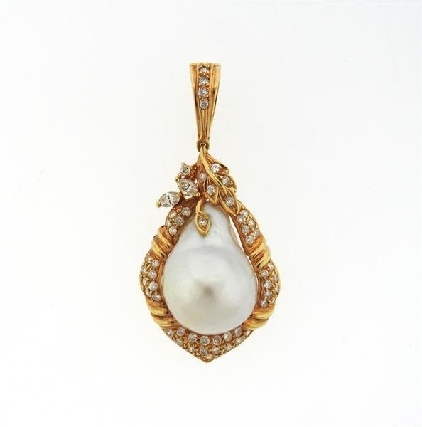 18K Gold Baroque Pearl Diamond Enhancer Pendant