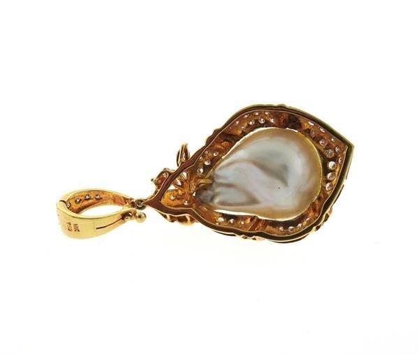 18K Gold Baroque Pearl Diamond Enhancer Pendant - 3