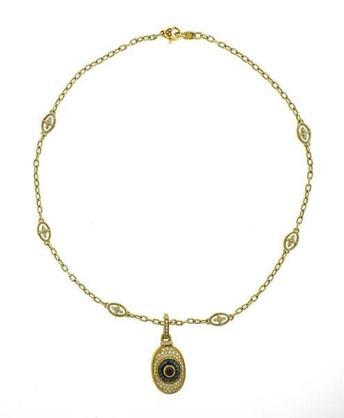 Judith Ripka 18k Gold Diamond Evil Eye Pendant Necklace