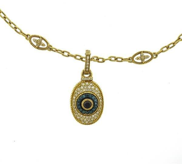 Judith Ripka 18k Gold Diamond Evil Eye Pendant Necklace - 2
