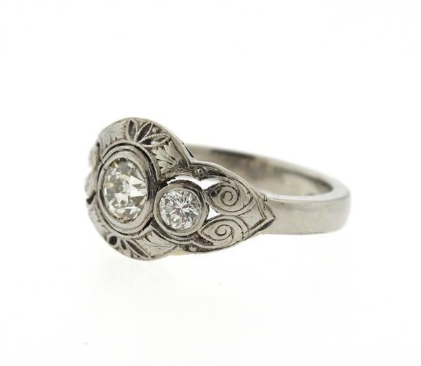Art Deco Platinum Diamond Engagement Ring - 2
