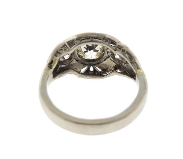 Art Deco Platinum Diamond Engagement Ring - 3