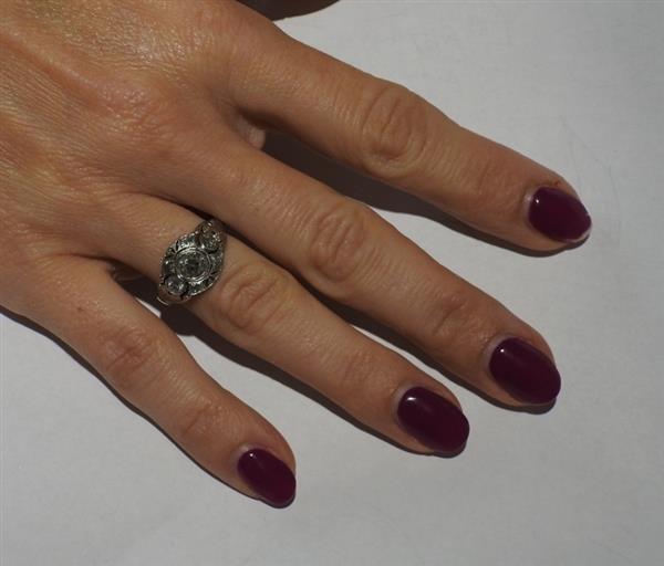 Art Deco Platinum Diamond Engagement Ring - 4