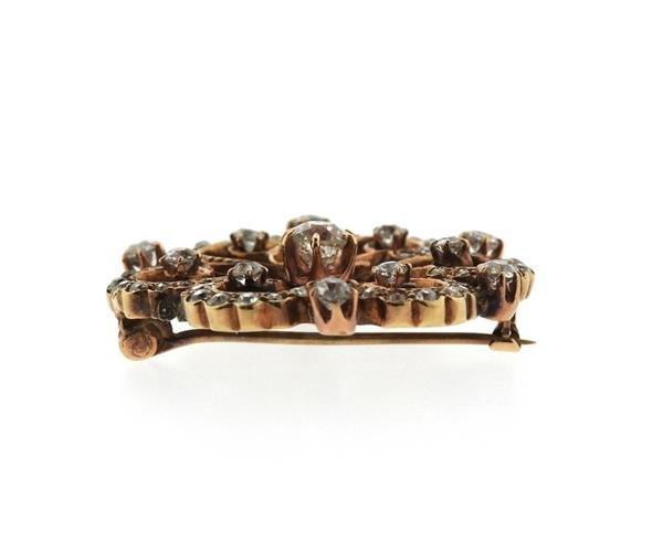 Antique 14k Gold Diamond Brooch Pendant - 2