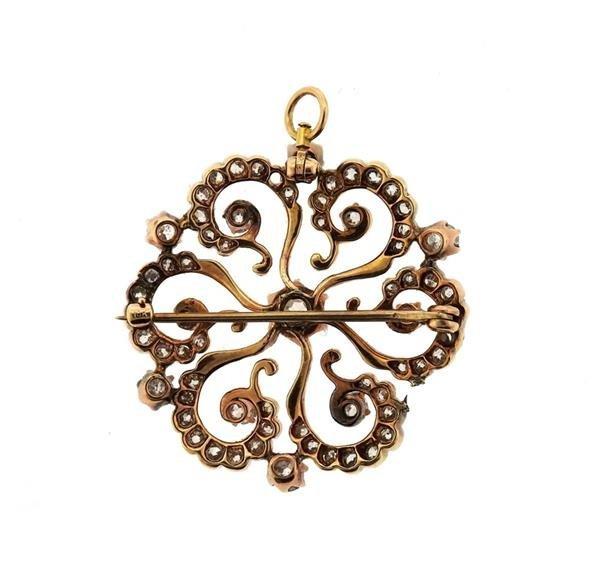 Antique 14k Gold Diamond Brooch Pendant - 3