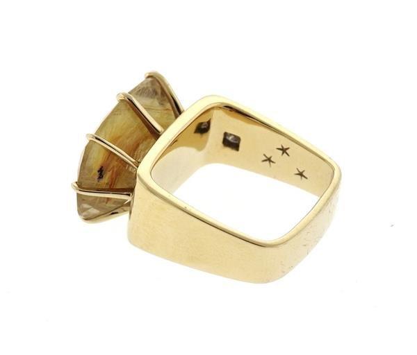 H. Stern Sunrise 18K Gold Rutilated Quartz Diamond Ring - 3