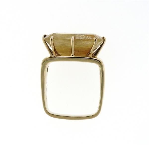 H. Stern Sunrise 18K Gold Rutilated Quartz Diamond Ring - 5