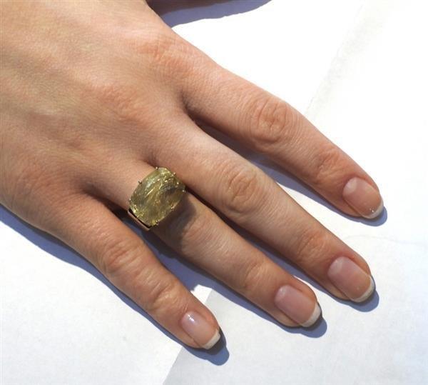 H. Stern Sunrise 18K Gold Rutilated Quartz Diamond Ring - 6