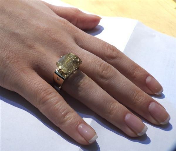 H. Stern Sunrise 18K Gold Rutilated Quartz Diamond Ring - 7