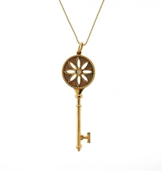 Tiffany & Co. Daisy Key 18K Gold Diamond Pendant