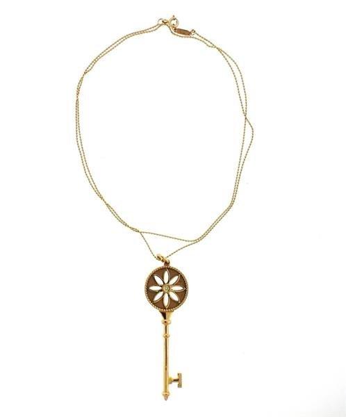Tiffany & Co. Daisy Key 18K Gold Diamond Pendant - 2