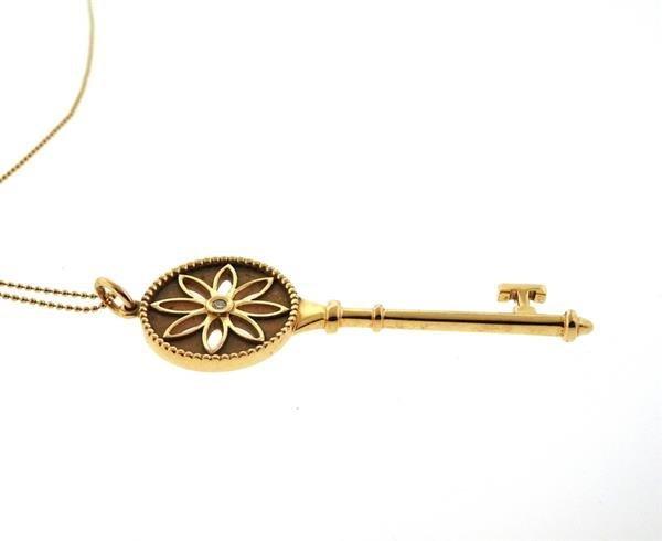 Tiffany & Co. Daisy Key 18K Gold Diamond Pendant - 3