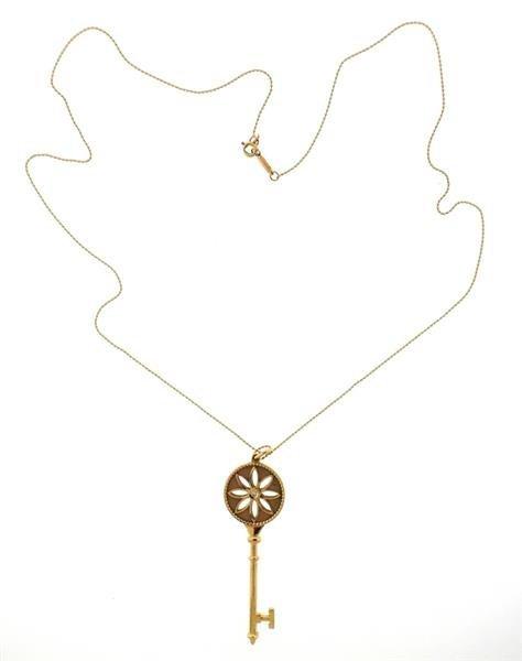Tiffany & Co. Daisy Key 18K Gold Diamond Pendant - 4