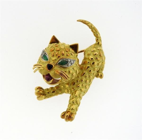 French 18K Gold Diamond Emerald Ruby Cat Brooch Pin
