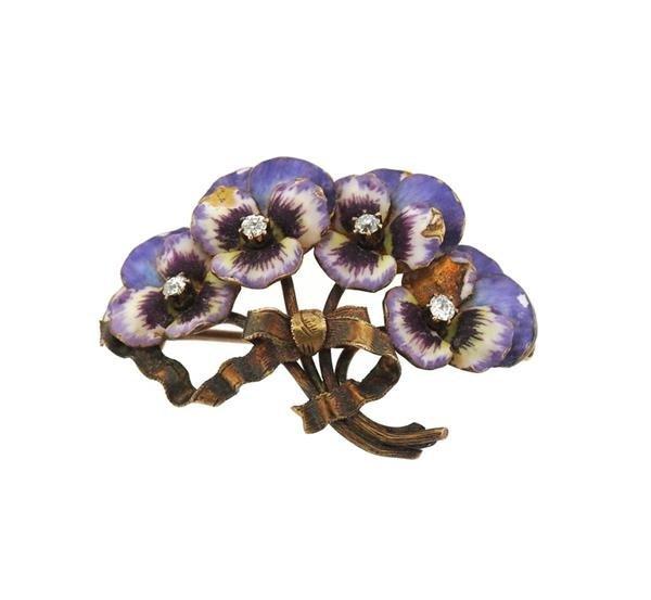 14k Gold Enamel Diamond Pansy Flower Brooch