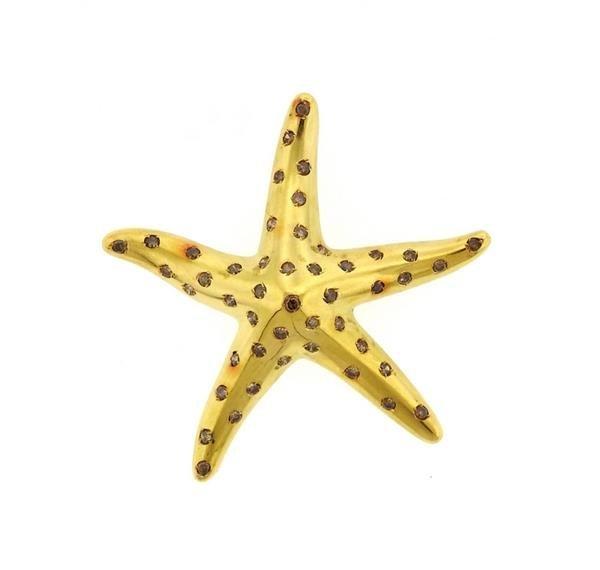Large 18k Gold Fancy Diamond Starfish Brooch Pin