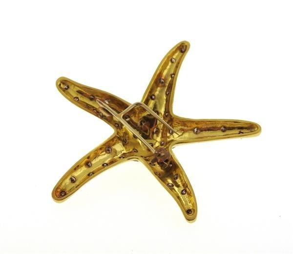 Large 18k Gold Fancy Diamond Starfish Brooch Pin - 3
