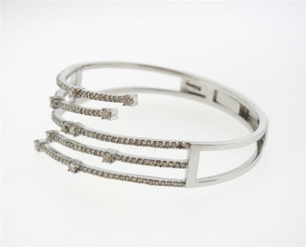 14K Gold 2.62ctw Diamond Bypass Hinged Cuff Bracelet - 2