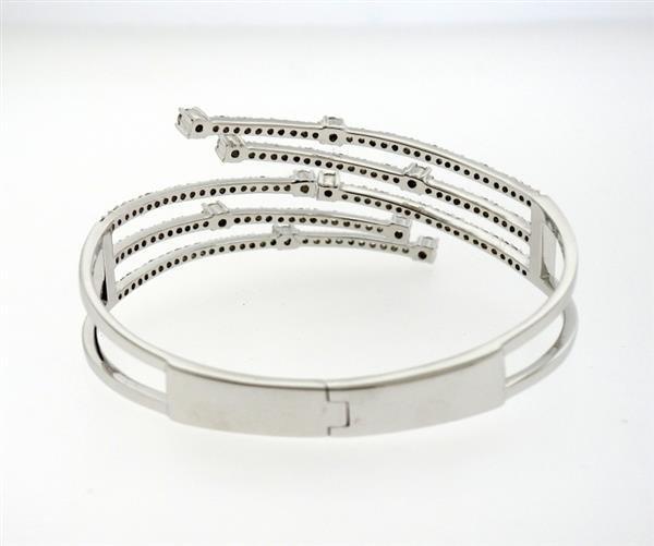 14K Gold 2.62ctw Diamond Bypass Hinged Cuff Bracelet - 3