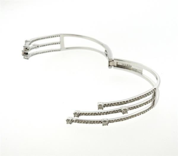 14K Gold 2.62ctw Diamond Bypass Hinged Cuff Bracelet - 4