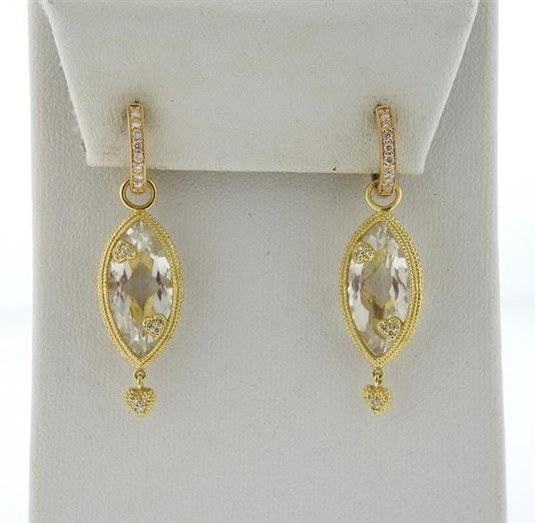 18K Gold Crystal Diamond Dangle Earrings