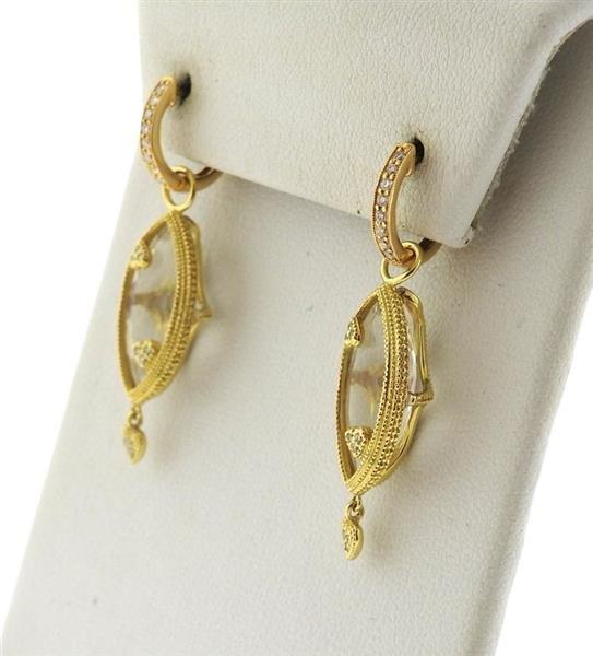 18K Gold Crystal Diamond Dangle Earrings - 2