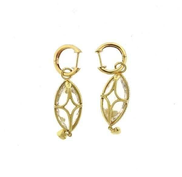 18K Gold Crystal Diamond Dangle Earrings - 3