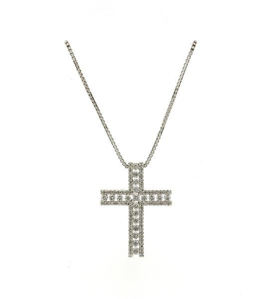 Italian 14K Gold Diamond Cross Pendant Necklace