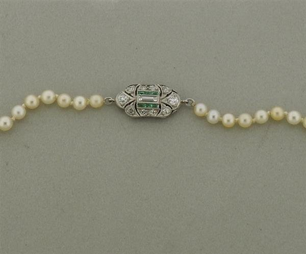 Art Deco Platinum Diamond Emerald GIA Natural Pearl - 2