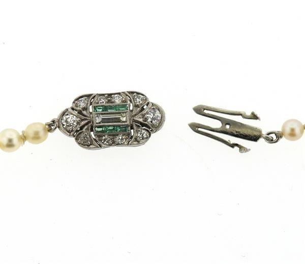 Art Deco Platinum Diamond Emerald GIA Natural Pearl - 3