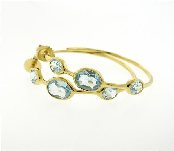Ippolita Gelato 18K Gold Blue Topaz Hoop Earrings