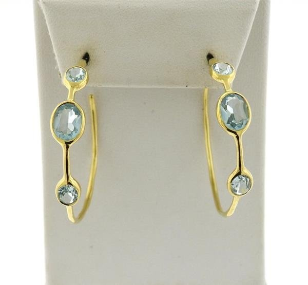 Ippolita Gelato 18K Gold Blue Topaz Hoop Earrings - 2