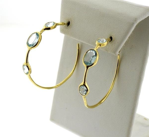 Ippolita Gelato 18K Gold Blue Topaz Hoop Earrings - 3