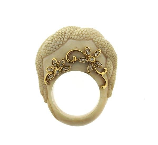 Bochic Carved Hardstone Diamond 18k Gold Ring
