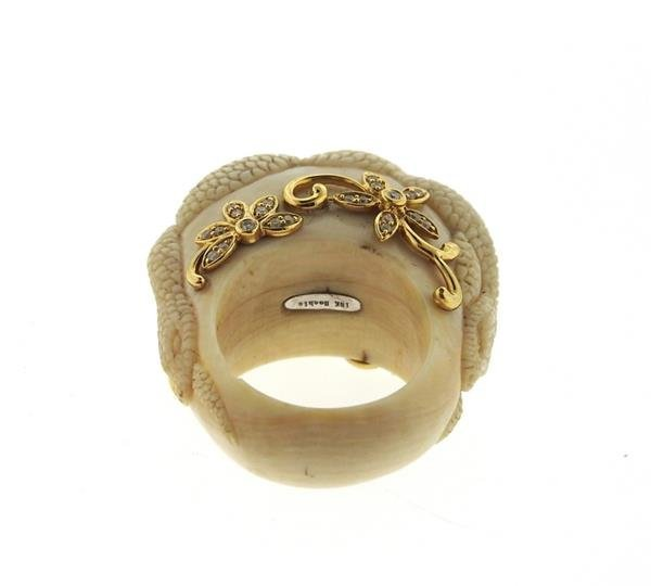 Bochic Carved Hardstone Diamond 18k Gold Ring - 4