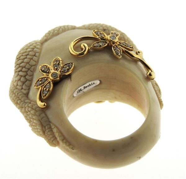Bochic Carved Hardstone Diamond 18k Gold Ring - 5