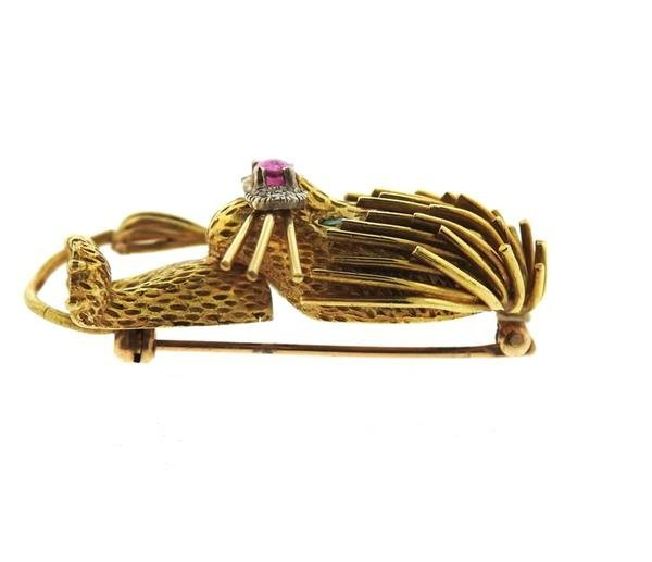 1960s 18k Gold Ruby Emerald Diamond Lion Brooch - 3