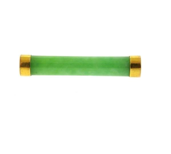 14k Gold Jade Bar Brooch Pin