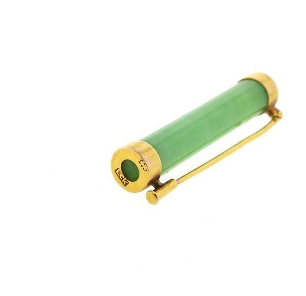 14k Gold Jade Bar Brooch Pin - 2